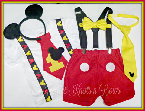 Boys Mickey Mouse 1st Birthday Outfit Mickey Mouse Birthday Boys Bir Needles Knots N Bows