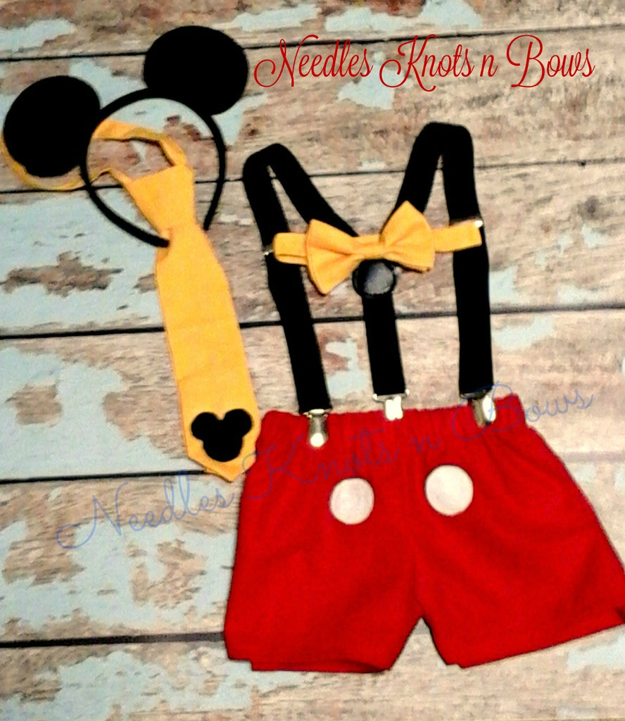 Boys Mickey Mouse Birthday Cake Smash Set First Outfit