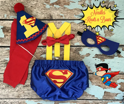 Boys Superman Cake Smash Outfit, Boys Superhero 1st Birthday Outfit, Boys 2nd Birthday Outfit