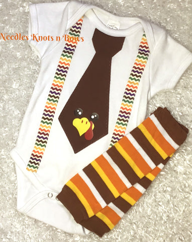 Boys Thanksgiving Tshirt, Thanksgiving Turkey Tie Suspender Shirt, Baby Boys Thanksgiving Onesie