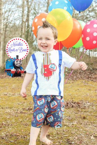 Boys Thomas the Train Birthday Outfit, Boys 1st - 2nd or 3rd Birthday Outfit, Thomas the Train Birthday