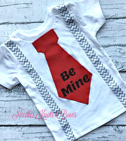 Boys Valentines Day Tie Suspender Tshirt, Be Mine Tie Tshirt, Valentines Day Shirt
