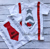 Boys Valentines Day Tie Suspender T-shirt, Baby Boys Valentines Day Onesie