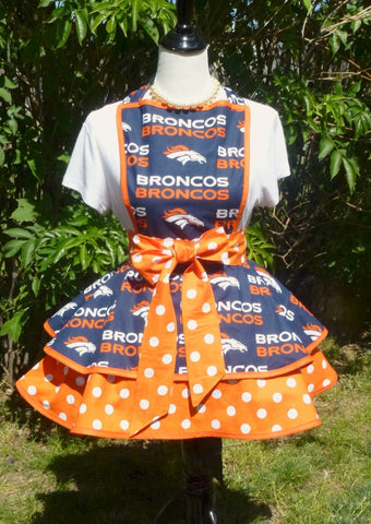 Denver Bronco's Womens Apron, Womens aprons, Womens Bronco's Football Apron, Womens Flirty Team Apron