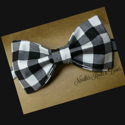 Buffalo Plaid Bow Tie, Black & White Buffalo Plaid Bow Tie, Baby Bow Tie, Bow Ties, Plaid Bow Tie