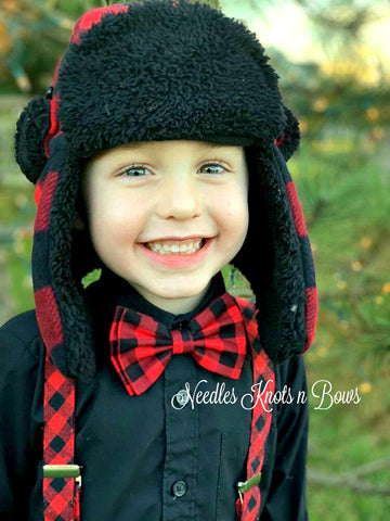 Buffalo Plaid Bow Tie, Plaid Bow Tie, Red & Black Buffalo Plaid, Christmas Bow Tie