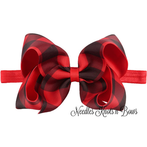 "5"" Buffalo Plaid Ribbon Hairbow or Headband, Girls Red & Black Buffalo Plaid Hairbow"