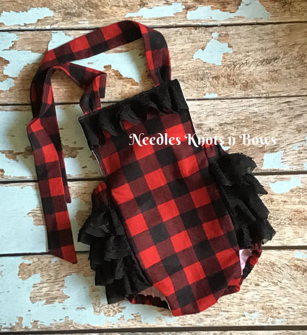 Baby Girls Buffalo Plaid Romper,  Girls Buffalo Plaid Romper with Black Lace Ruffles, Baby Girls Clothing