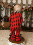 Girls Buffalo Plaid Christmas Romper, Long Sleeved Romper, Baby Girls Christmas Outfit