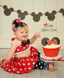 Girls Minnie Mouse Cake Smash Outfit, Girls Pink Minnie Mouse 1st Birthday Outfit