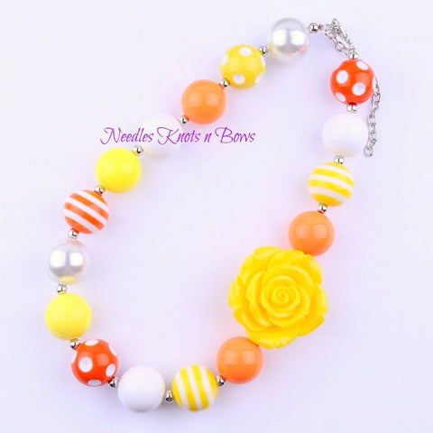 "Girls ""You are My Sunshine"" Birthday Cake Smash Chunky Bead Necklace, Chunky Bead Bubblegum Necklace"