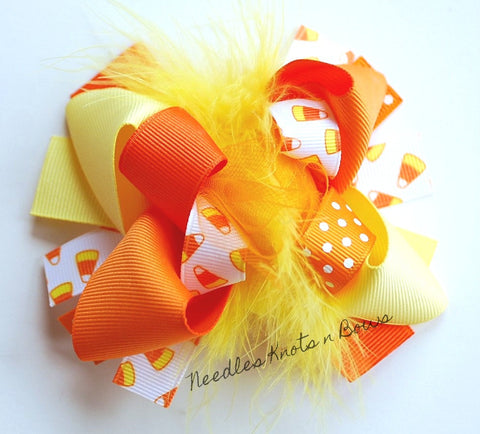 Girls Candy Corn Hair Bow,  Halloween Hair Bow, Fall Hair Bow, Layered Boutique Hair Bow