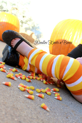 Candy Corn Leg Warmers, Striped Leg Warmers, Fall Leg Warmers, Halloween Leg Warmers