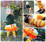 Girls Candy Corn Bloomers, Baby Girls Coming Home Outfit, Halloween Skirt, Fall, Ruffled Bloomers