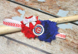 Chicago Cubs Headband, Cubs Shabby Chic Baseball Headband, Girls Hair Accessories
