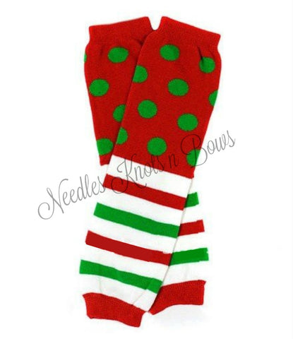 Christmas Leg Warmers, Red Polka Dots & Stripes, Baby Boys and Girls Leg Warmers, Accessories