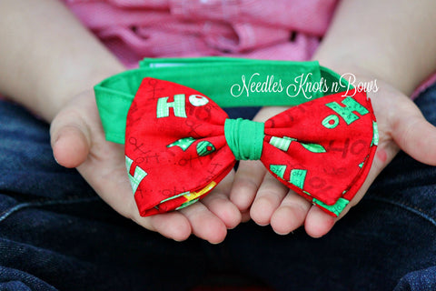 "Christmas Bow Tie, ""Ho Ho Ho"" Words on Red, Pre Tied Holiday Bow Tie"