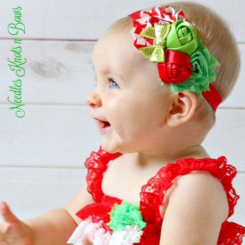 Christmas Hair Bows For Toddlers.Girls Christmas Headband Christmas Hair Bow Newborns Infants Toddlers Shabby Chic Headband