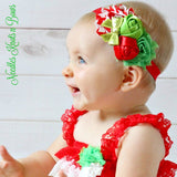 Girls Christmas Headband, Christmas Hair Bow, Newborns, Infants, Toddlers, Shabby Chic Headband