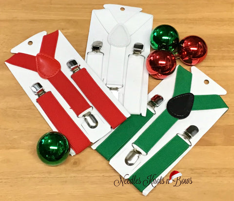 Christmas Suspenders, Red - Green or White Suspenders, You Choose, Baby Boys, Boys, Toddlers