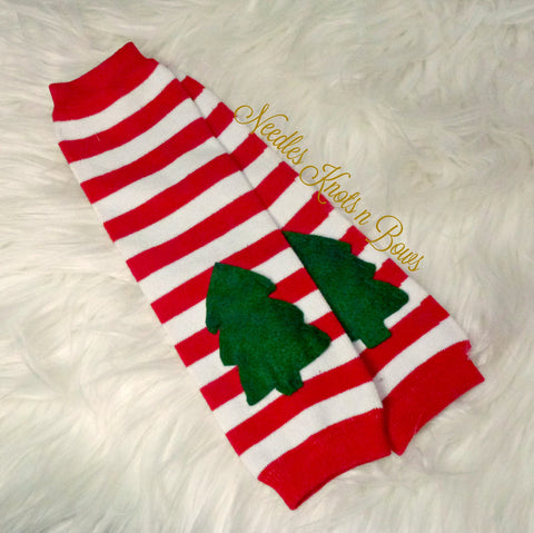 Christmas Leg Warmers, Red & Whited Striped Legwarmers w/ Appliqued Christmas Tree