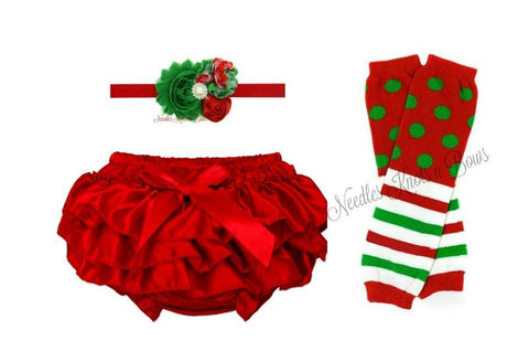 Girls Christmas Red Ruffle Bloomers, Legwarmers & Headband