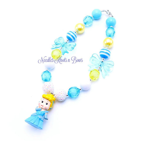 Cinderella Chunky Bead Bubblegum Necklace, Cinderella Bubblegum Necklace, Girls Jewelry