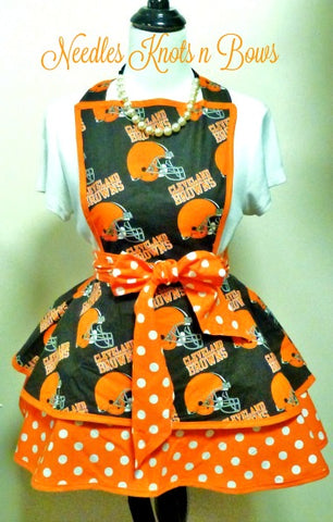 Cleveland Browns Womens Apron, Womens Flirty Game Day Football Apron, Browns Apron