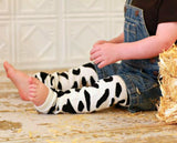 Cow Print Leg Warmers with Red / Pink Bandanna Bows, Cow Print Legwarmers, Cowgirls Leg Warmers
