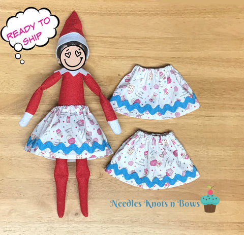 Elf Cupcake Skirt, Birthday Skirt, Christmas Shelf Elf Skirt,  Magic Elf Skirt, READY to Ship