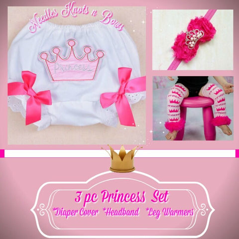 Girls Princess Birthday Cake Smash Set, Girls Princess Bloomers, Headband & Legwarmer Set
