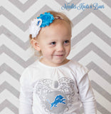 Detroit Lions Headband, Girls Shabby Chic Lions Headband, Baby Girls Football Headband, Game Day