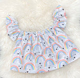 Girls Rainbow Crop Top, Baby Girls Off the Shoulder Crop Top