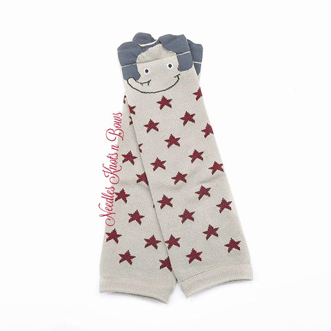 Elephant Leg Warmers, Gray Elephant Leg Warmers with Red Stars, Boys Leg Warmers
