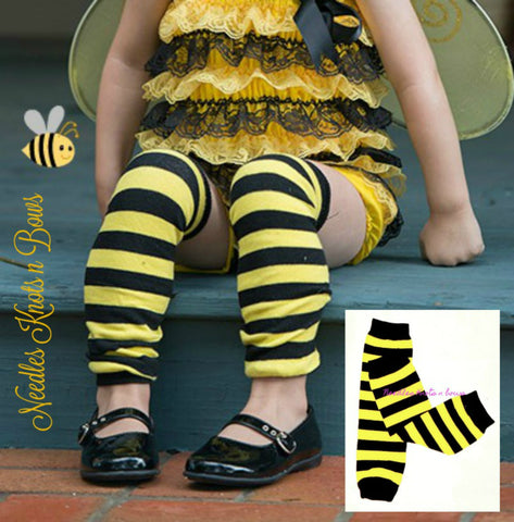 Bumble Bee Leg Warmers, Yellow & Black Striped Leg Warmers, Baby Boys & Girls Accessories