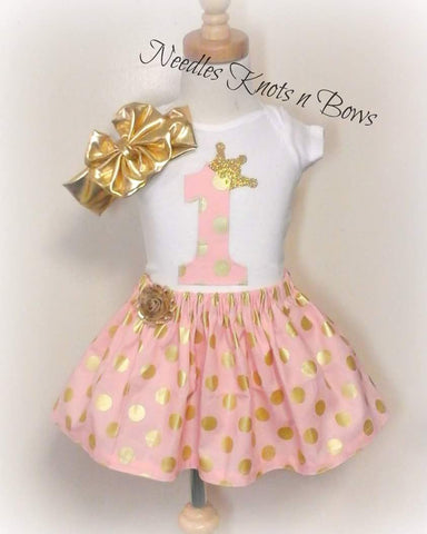 Girls Pink n Gold First Birthday Outfit, Girls Birthday Outfit, Pink & Gold Skirt