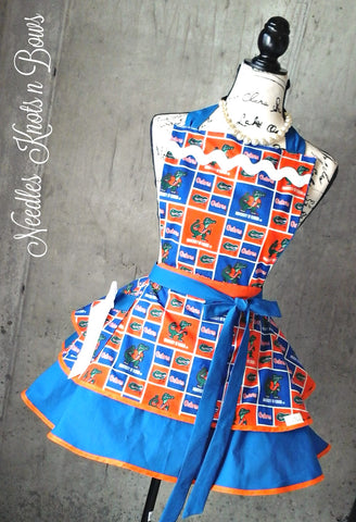 Florida Gators Womens Apron, Gators Apron, Womens Tailgating Game Day Apron, Football