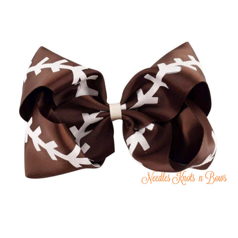 "7"" Football Hair Bow, Jumbo Football Bow, Hair Accessories, Large Hair Bow, Girls Accessories"