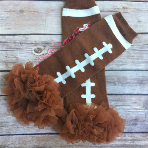 Girls Football Legwarmers w/ Brown Chiffon Ruffle, Girls Accessories, Legwarmers, Sports
