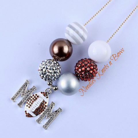 Football Mom Chunky Bead Bubble Gum Necklace, Women's Jewelry, Womens Necklace