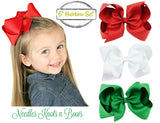 "Set of 3 Christmas Hair Bows, Girls 6"" Christmas Hairbow Set, Hair Accessories,  Girls Accessories"