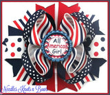 "4th of July Hairbow, 5"" Layered Patriotic Hairbow, Girls Hair Accessories, Girls Hair Bows"