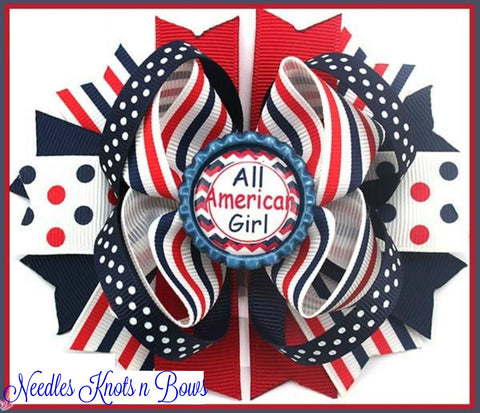"All American Girl Hairbow, Girls 5"" Fourth of July Hairbow, Layered Hair Bow, Patriotic Hair Bow, Girls Hair Accessories, READY to SHIP"