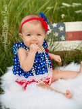 Baby Girls 4th Of July Petti Lace Romper Set, 1st Birthday Outfit, Petti Lace Romper Set