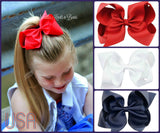 Setof 3 - 6 inch Grosgrain Ribbon Hairbows, Red White and Blue Hairbow Set, Girls 4th of July Hairbow Set, Patriotic