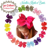 "6 Inch Hairbows, Girls 6"" Grograin Ribbon Hairbows, 30 Colors, 6"" Hair Bows"
