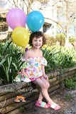 Girls Animal Balloon & Rainbow Outfit, Off the Shoulder Top w/ Bloomers
