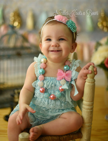 Aqua & Pink Petti Lace Romper Set, Baby Girls First Birthday Outfit, Rompers