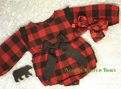 Girls Buffalo Plaid Romper, Baby Girls Ruffled Butt Buffalo Plaid Long Sleeve Christmas Outfit