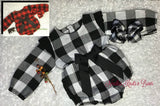 Girls Buffalo Plaid Romper, Long Sleeved Black & White Buffalo Plaid Romper, Baby Girls Outfit